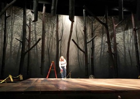 """Semi translucent drop and with deck and trees, Guthrie Theater production of """"The Crucible"""