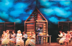"""One of several translucent sky drops for Guthrie Theater's """"Little House on the Prairie"""